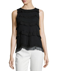 Red Valentino Contrast Ruffle Sleeveless Top Black