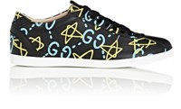 Men's Guccighost Print Leather Low Top Sneakers Black Blue Yellow Black Blue Yellow