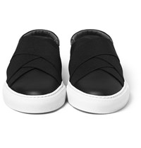 Givenchy Elasticated Strap Leather Slip On Sneakers Black