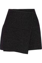Alice Olivia Lennon Striped Wool And Cotton Blend Mini Skirt Black