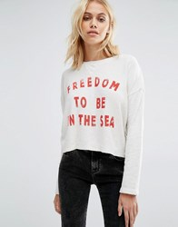 Billabong Cropped Open Back Sweatshirt With Freedom Print Grey