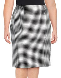 Nipon Boutique Plus Houndstooth Pencil Skirt Black Ivory