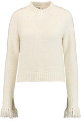 3.1 Phillip Lim Fringed Textured Knit Sweater Ivory