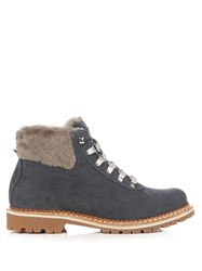 Montelliana Sequoia Shearling Lined Suede Apres Ski Boots Dark Grey