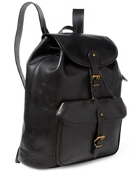 Polo Ralph Lauren Men's Leather Drawstring Backpack Black