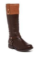 Pink Pop Suzy Two Tone Riding Boot Brown