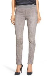Women's Lafayette 148 New York Suede And Punto Milano Skinny Moto Pants Rock