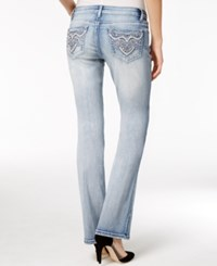 Project Indigo Juniors' Embellished Ripped Bootcut Jeans Light Wash