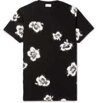 Saint Laurent Sli Fit Glitter Floral Print Cotton Jersey T Shirt Black