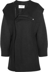 Chalayan Wool Blend Felt Coat Charcoal