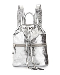 French Connection Mara Metallic Drawstring Backpack Silver