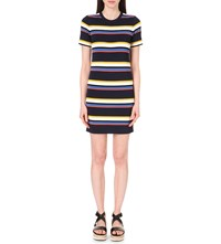 Whistles Striped Crepe Tee Dress Multi Coloured