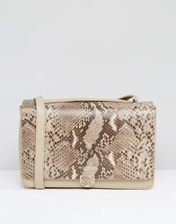 Modalu Leather Shoulder Bag In Faux Snake Mix Stone Snake Mix Brown