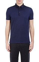 Lanvin Men's Pique Polo Shirt Blue Black Navy