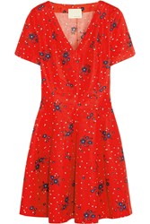 Band Of Outsiders Printed Seersucker Cotton Mini Dress Red