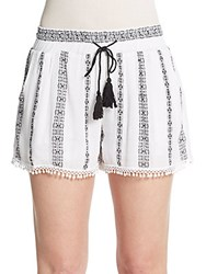 Romeo And Juliet Couture Striped Drawstring Shorts White Black