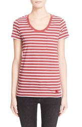 Women's Burberry Brit Stripe Pocket Tee Bright Copper Pink