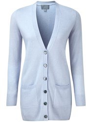 Pure Collection Paloma Cashmere Boyfriend Cardigan Blue Whisper