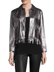 Polo Ralph Lauren Metallic Leather Fringe Jacket Grey