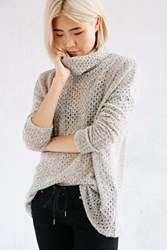 Kimchi And Blue Kimchi Blue Piper Open Stitch Turtleneck Sweater Taupe
