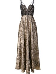 Badgley Mischka Sheer Detailing Metallic Grey Dress
