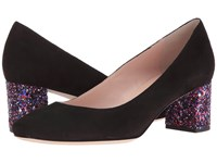 Kate Spade Dolores Black Kid Suede Purple Glitter Heel Women's Shoes