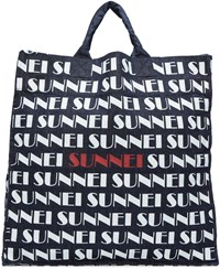 Sunnei Navy Denim Logo Shopping Tote