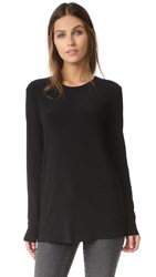 Norma Kamali Kulture Long Sleeve Crew Top Black
