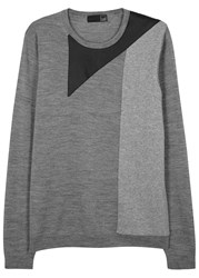 Pal Zileri Lab Grey Faux Leather Trimmed Wool Jumper
