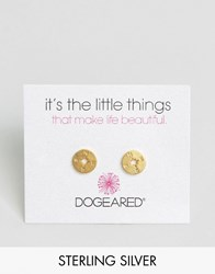 Dogeared Gold Plated Compass Disc Stud Earrings Gold