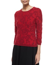 Escada 3 4 Sleeve Floral Intarsia Pullover Top Cherry