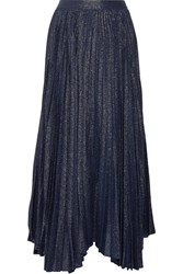 Alice Olivia Katz Pleated Metallic Silk Blend Jacquard Maxi Skirt Navy Metallic