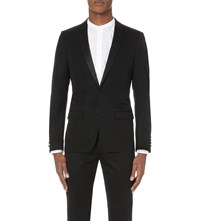 Sandro Single Breasted Wool Blend Tuxedo Black