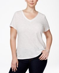 Inc International Concepts Plus Size V Neck Tee Bright White