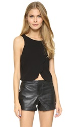 Club Monaco Genero Scalloped Crop Tank Black