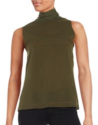 French Connection Polly Plains Turtleneck Top Green