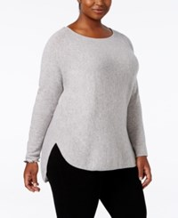 Charter Club Plus Size Cashmere Shirttail Sweater Only At Macy's Heather Crystal