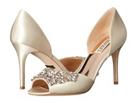 Badgley Mischka Candance Ivory Satin High Heels Bone