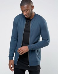 Asos Longline Muscle Fit Bomber Jacket In Lightweight Jersey Cadet Blue