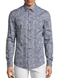 Versace Traditional Fit Paisley Print Sportshirt White Black