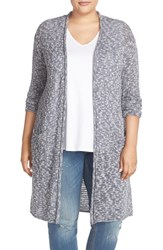 Caslonr Plus Size Women's Caslon Open Stitch Long Cardigan Navy Marl