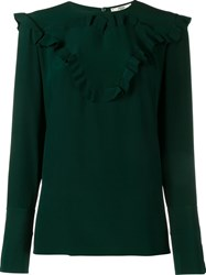 Fendi Ruffle Trim Blouse Green