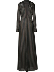 By. Bonnie Young Striped Shirt Dress Brown