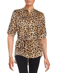Calvin Klein Patterned Zip Placket Tunic Leopard