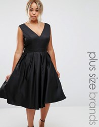 Chi Chi Plus London Plunge Front Prom Dress Black