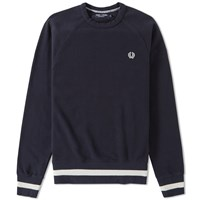 Fred Perry Striped Hem Crew Sweat Blue