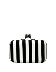 La Regale Vertical Stripe Minaudiere White Black