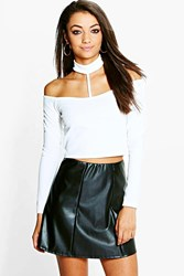 Boohoo Maddie Textured Off The Shoulder Neck Strap Crop Cream