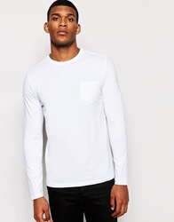 Reiss Long Sleeve Top With Pocket White