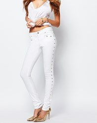 Versace Jeans Skinny Jean With Side Stud Detail White